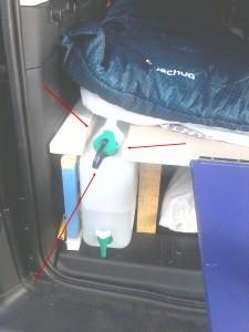 rangement Jerican dans la voiture
